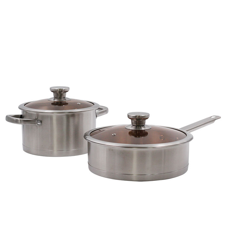 Good quality kitchenware with glass cover edible stainless steel aluminum cookware set