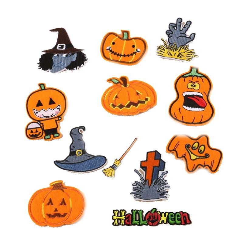 Halloween Pumpkin Skeleton Kid Embroidered Patch For Bags Jackets Jeans Clothes
