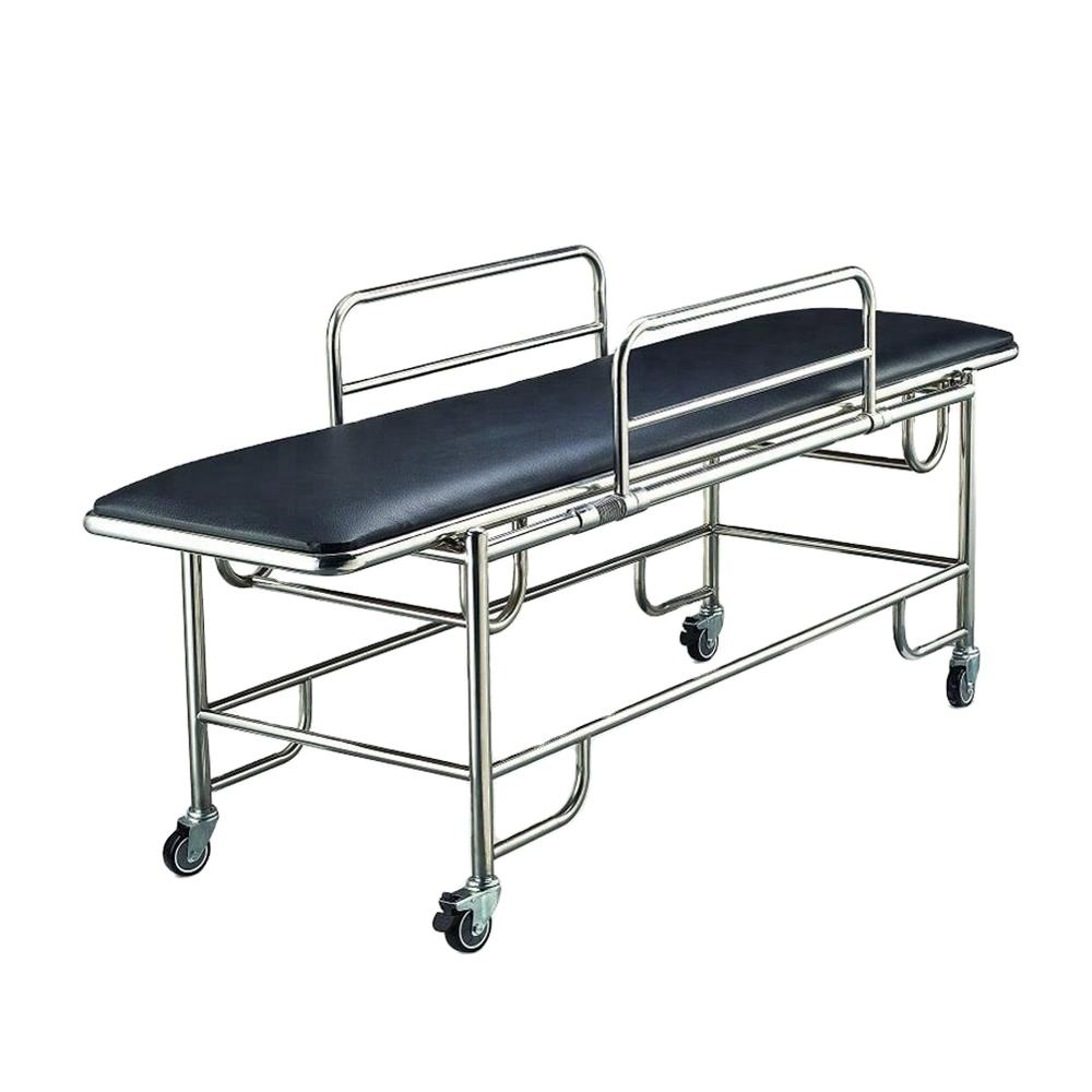 Furniture hospital clinic stainless steel height adjustable patient transfer stretcher emergency ambulance cart trolley