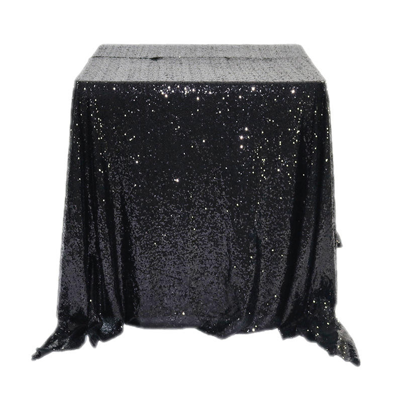 Made In China Glitter Table Cloth For Table, Black Sequin Table Linen/