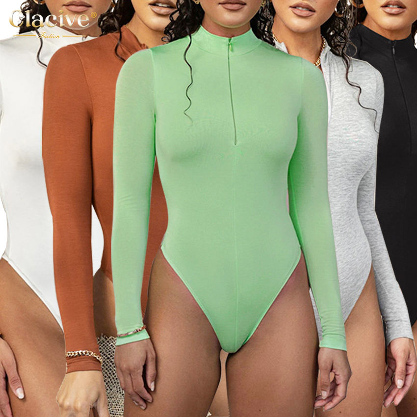 Clacive 2021 Spring Autumn Solid Multicolor Long Sleeve Bodysuit Women Clothing Fashionable Tops Slim Casual Bodysuits for Women