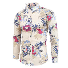 Floral Man Shirt 2020 Fashion Printed Long Sleeve Casual Shirts Hawaiian Chemise Homme