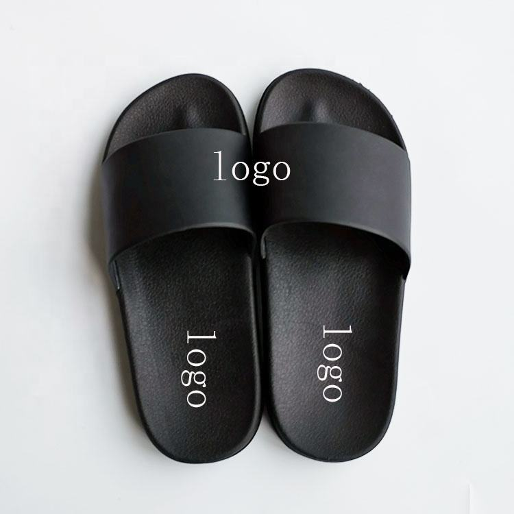 OEM Custom Black Slides Footwear Sandal PVC,Custom Logo Slippers Men Plain Blank Slide Sandal,Slippers Custom Logo Slide