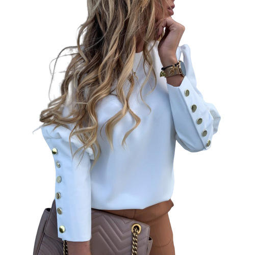 Spring Plus Size Office Ladies Elegant Metal Button Shirt Blouses Women Casual Long Sleeve Tops Clothing