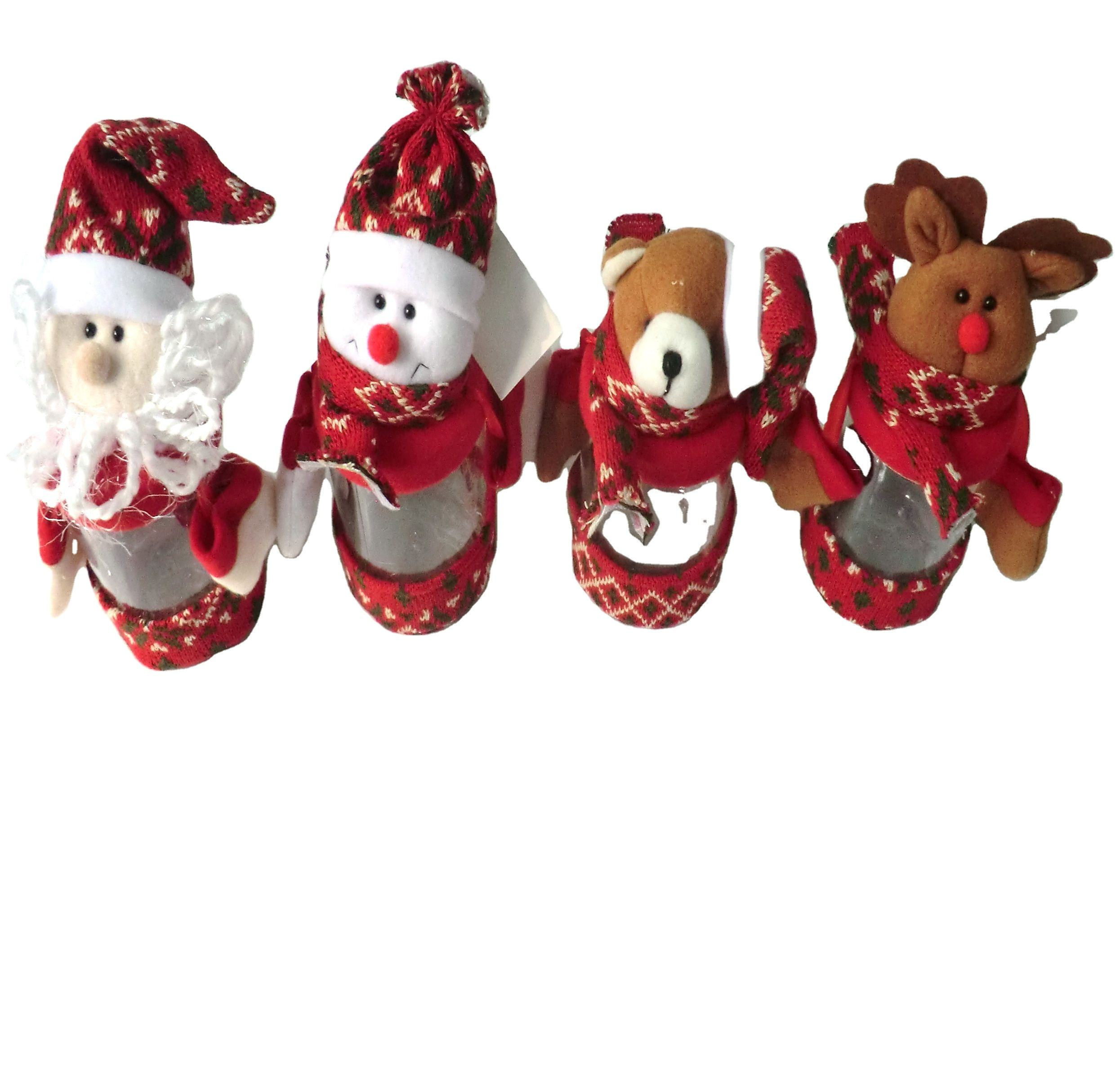 Christmas candy bottles of Santa Claus/Snowman/Bear/Deer/Elf for christmas fabric decorations/christmas fabric gift