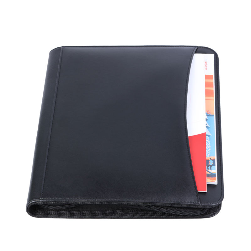 Professional PU leather A4 Padfolio Portfolio dual zips phone pouch 2 Tier expanding folder exterior document slot