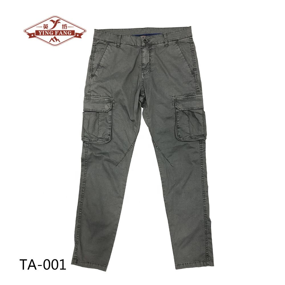 97%Cotton 3%Spandex Elastic Manufacturer Garment Dye Twill Chino Fabric New Design Men's Cargo Pants