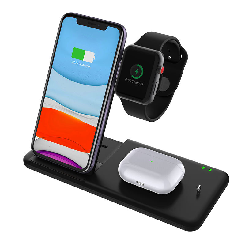 4 In 1 Draadloze Oplader Opladen Stand Docking Station Voor Iphone Iwatch Draadloos Opladen Case