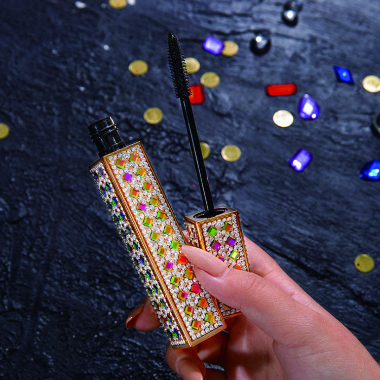 In Stock New High Grade Shining Diamonds Gold Tube Mascara Waterproof Liquid Lash Extension Mascara