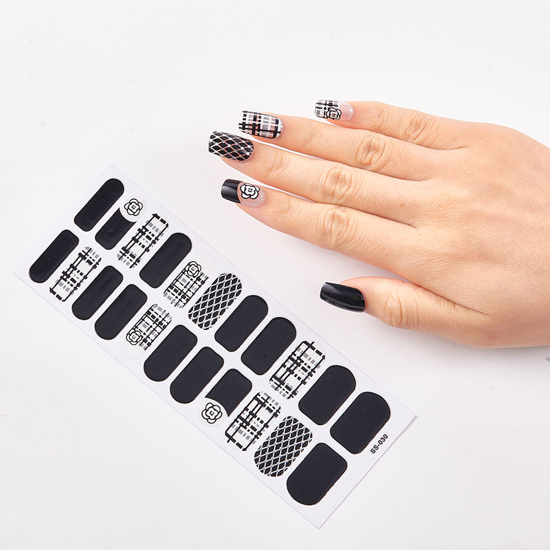 Wholesale waterproof decals press on fake nails 22pcs nail art paper decal nail stickers