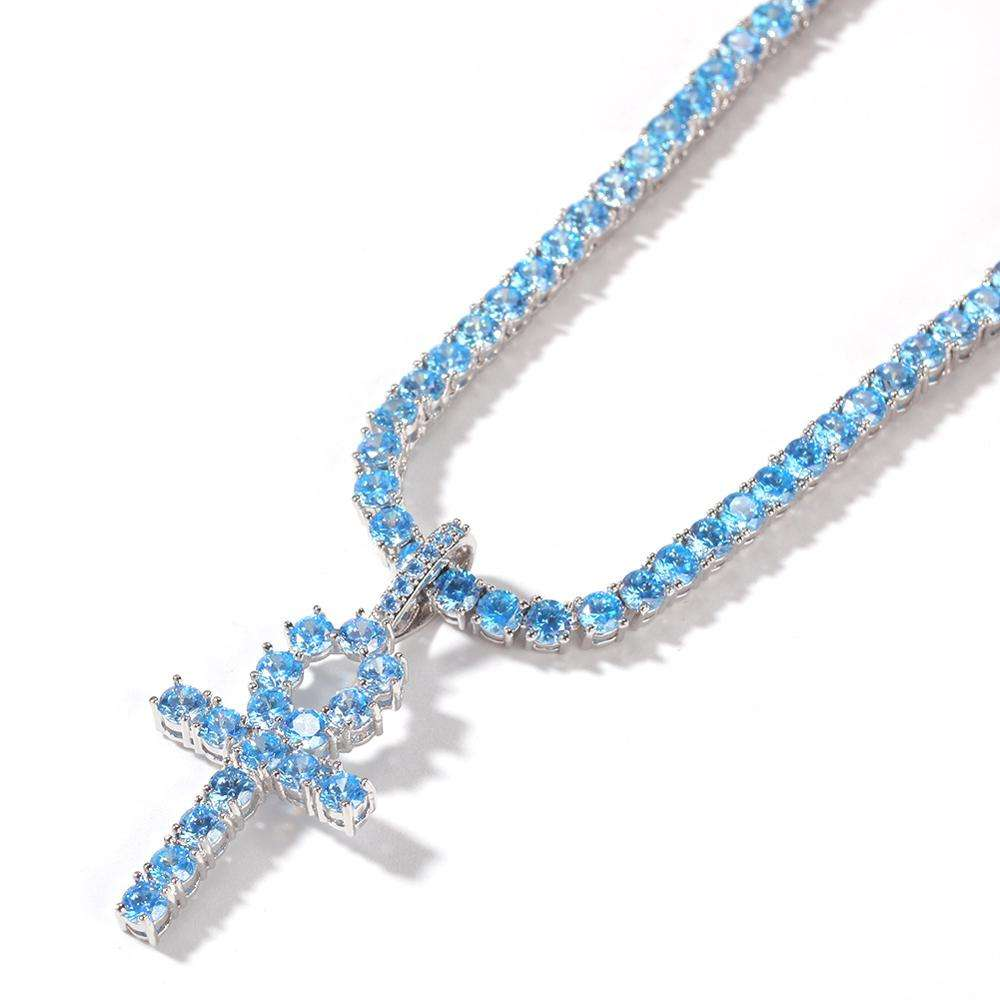 Hip hop jewelry making supplies blue Ankh Cross Pendant iced out jewelry cross necklace