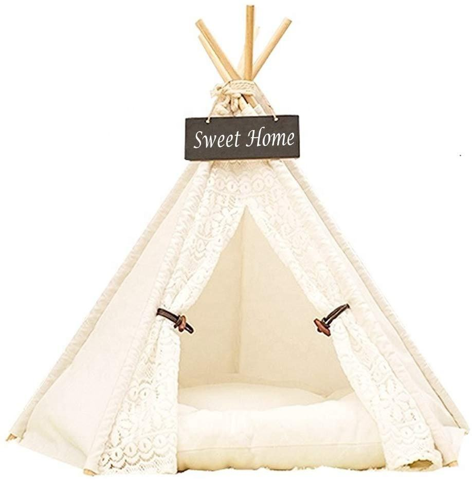 Pet Teepee Tent Dog & Cat Bed Portable Washable Dog Tent Lace Style Pet House for Dog Cat Pet