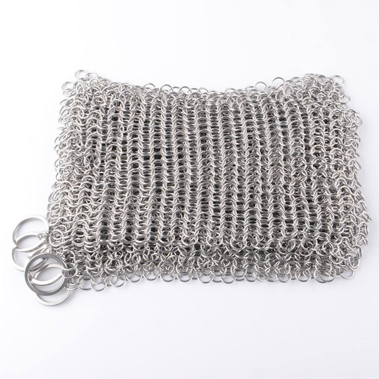 Stainless Steel Chainmail Cast Iron Cleaner Scrubber