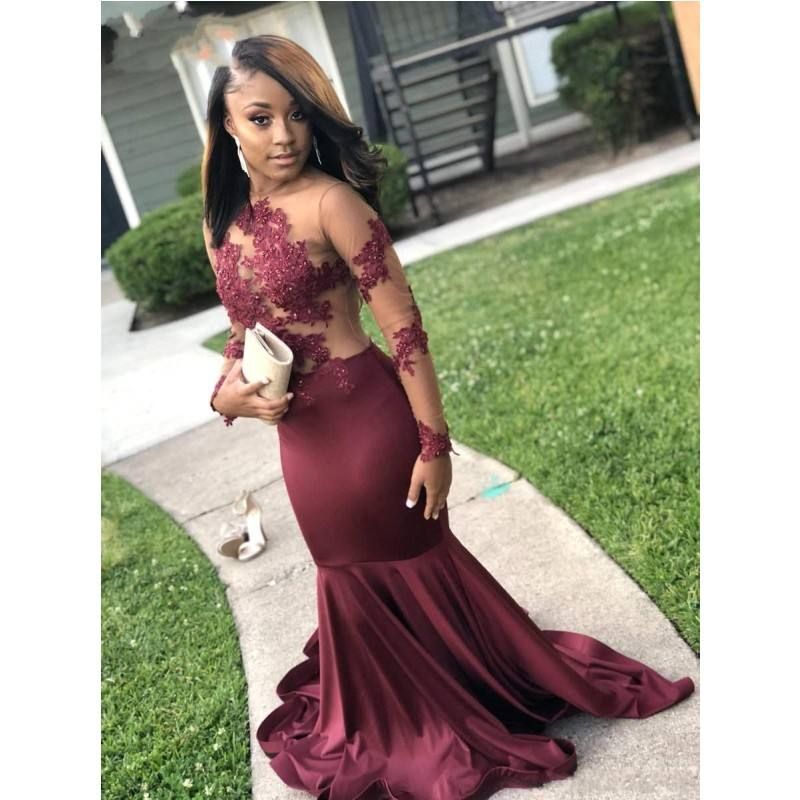 Jewel Neck Burgundy Long Sleeve Mermaid Prom Dresses Sheer Illusion Backless Long Evening Gowns Party Wear