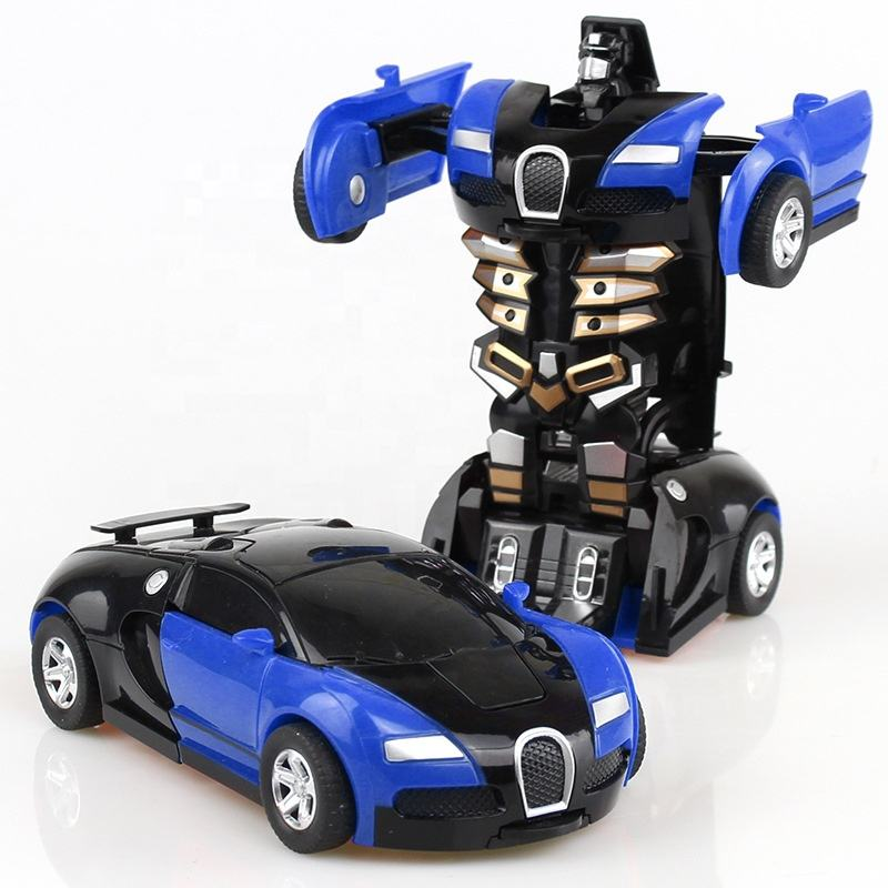Wholesale cheap kids children plastic diecast cars robot automatic transformed car toy
