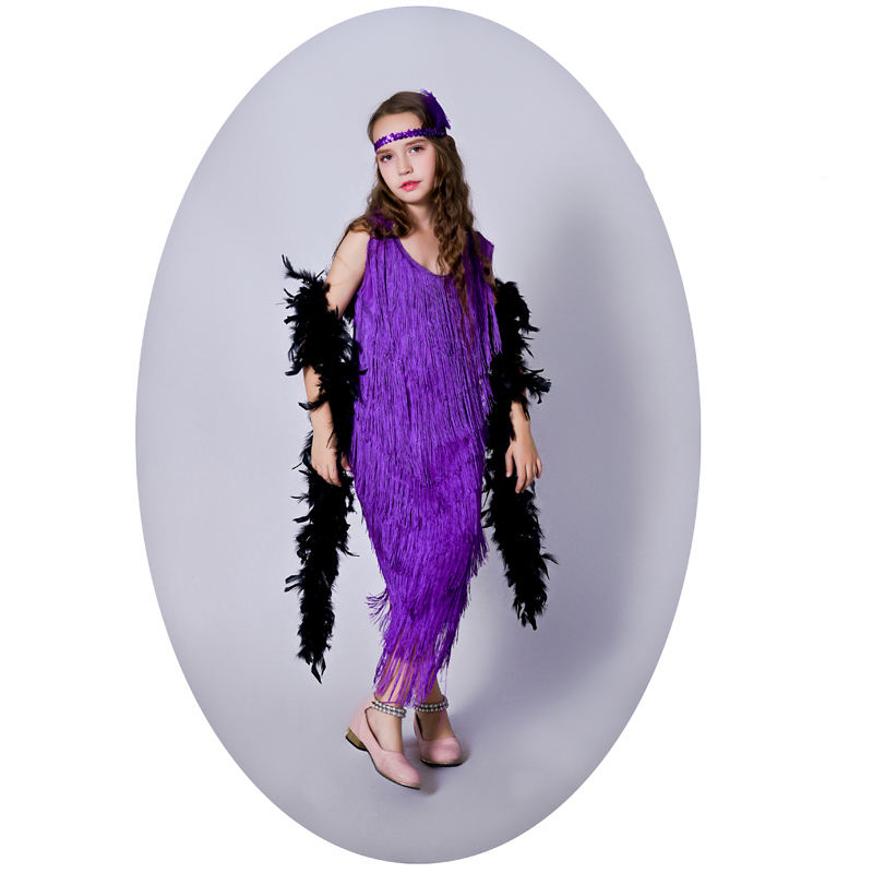 Fashion Purple Sassy Flapper Girls Costumes Carnival Halloween Performance Tassel Clothing Fancy Party Dancer Costume