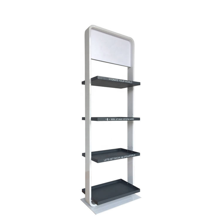4 tiers white metal storage rack modern brank floor display stand with 4 colors welcome custom