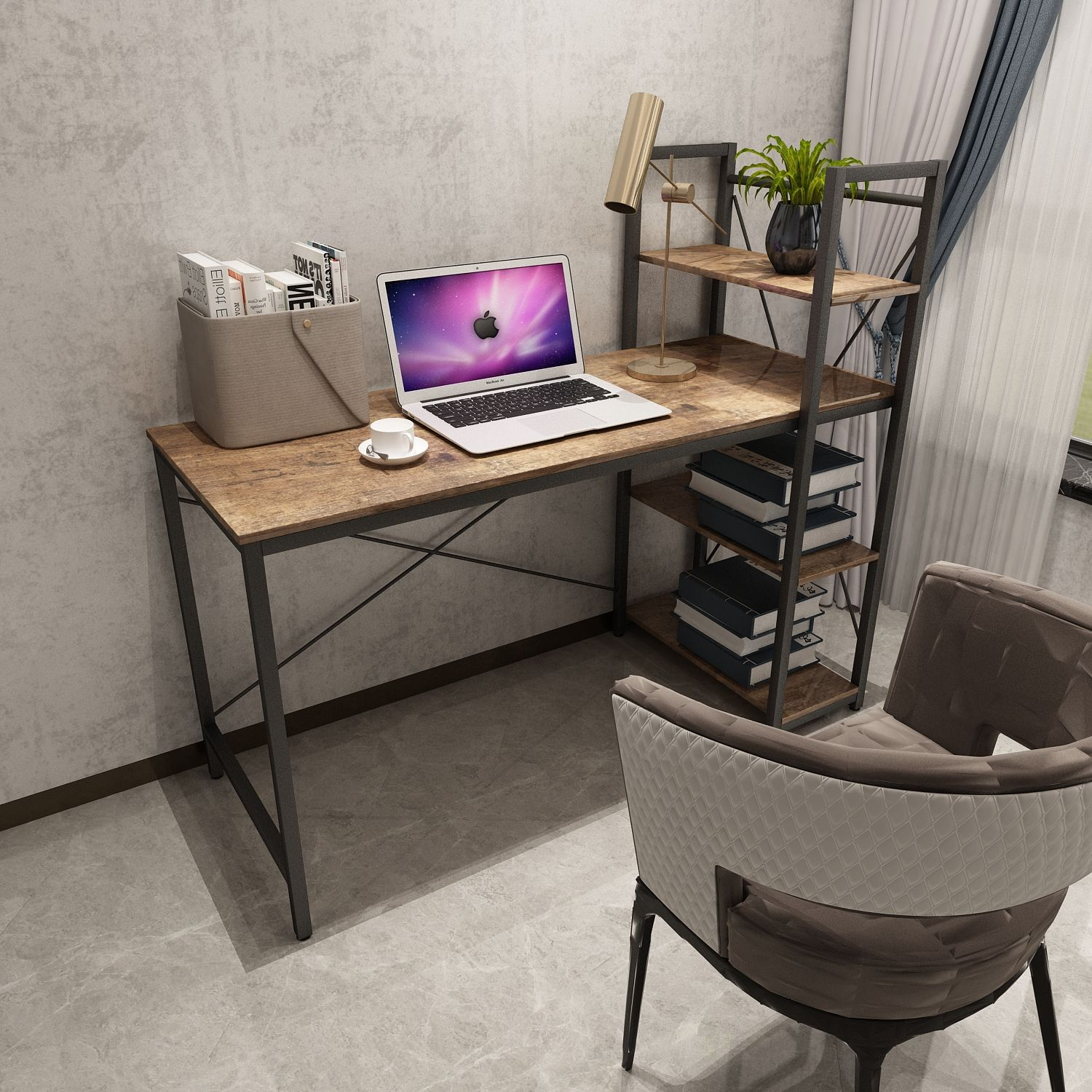 Industrial style OEM/ODM computer desk for home office desks with book shelf