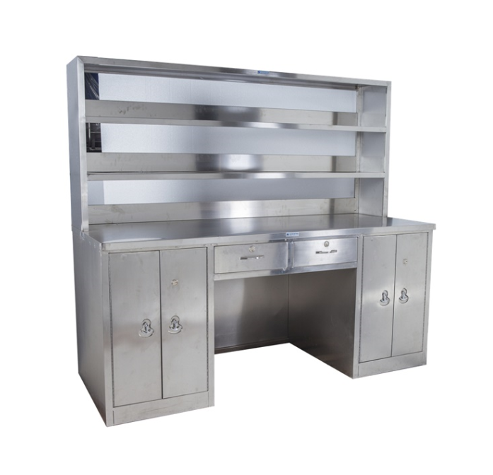 Hospital furniture 304 stainless steel working table with reagent rack