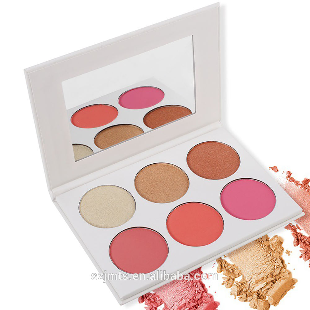 RTS product Hot Sell OEM Vegan 6 Colors pearl white palette Private Label highlighter