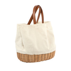 Customized Fashion Beautiful Durable Outdoor Fabric Portable Willow Wicker Weaving Folding Outdoor Picnic Tote Bag Basket