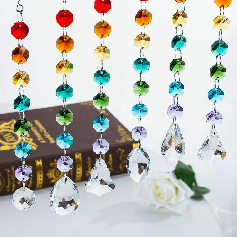 Chakra Prismi di Cristallo Suncatcher Con Multi Perline Ottagono Finestra Hanging Decor