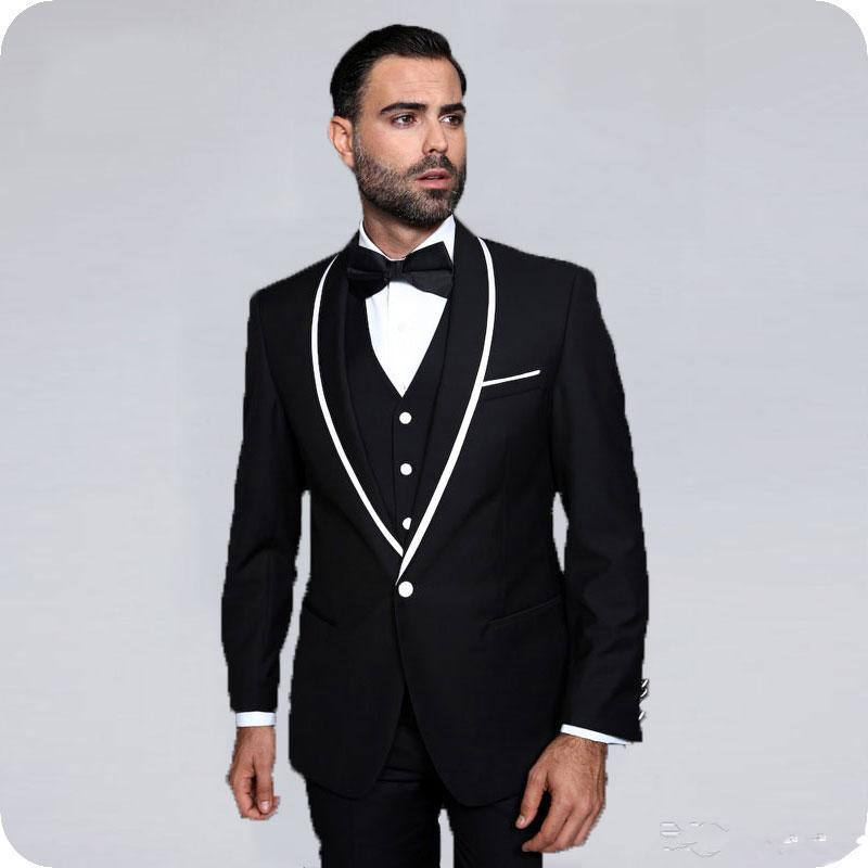 LL055 Custom Made Black Men Suits for Wedding Tuxedo Shawl Lapel Vintage Groom Wear Man Blazer3Piece Costume Homme