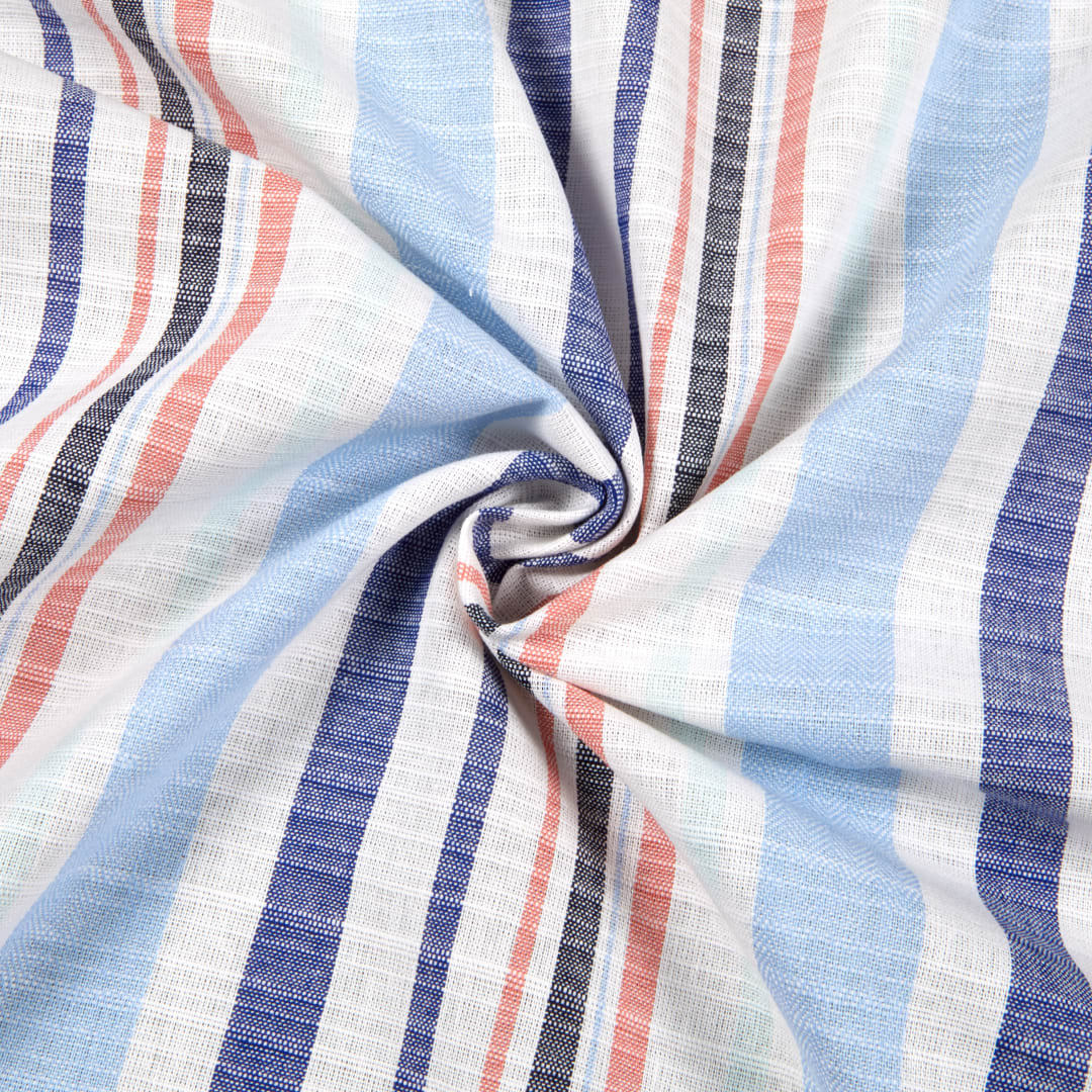Yarn dyed 100% Cotton Blended woven stripe fabric for Garment