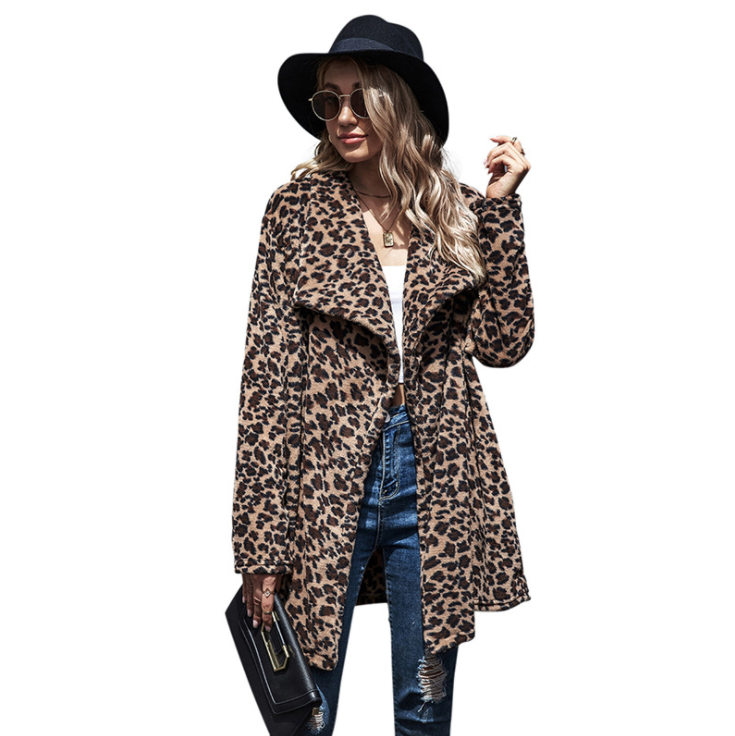 Mid-length Leopard Print Coat Woman Winter European and American Women's Coats in Stock