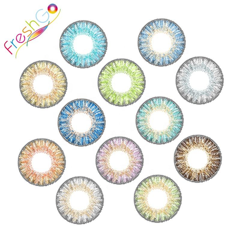 Fancy look hollywood cheap cosmetic colored contacts high quality freshgo soft wholesale 3 tone color contact lens