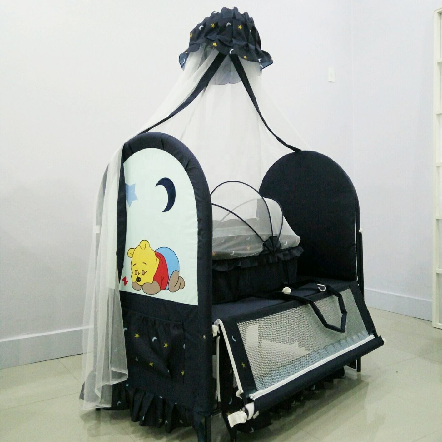 hot sales attachable metal frame baby cot