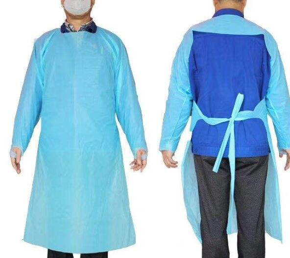 Disposable Blue CPE Adult Gowns Aprons With CE and FDA ISO9000