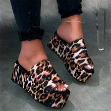 New Fashion Slippers Beach for Women Leopard Print Ladies Platform Wedge Sandals For Women Slipper