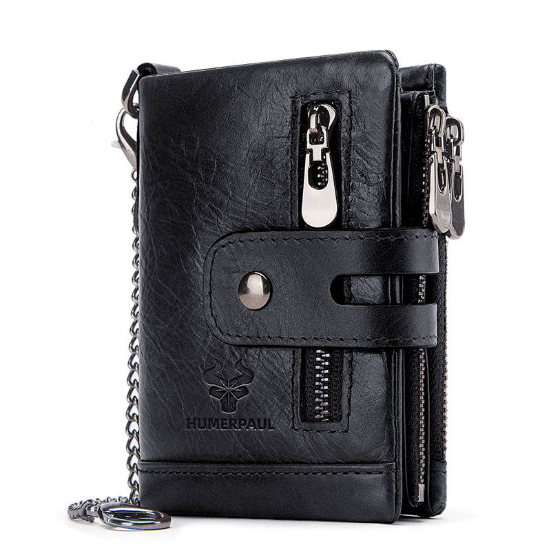 HUMERPAUL 100% Genuine leather male purses with zip coin pocket men wallet and card holder wallets leather men