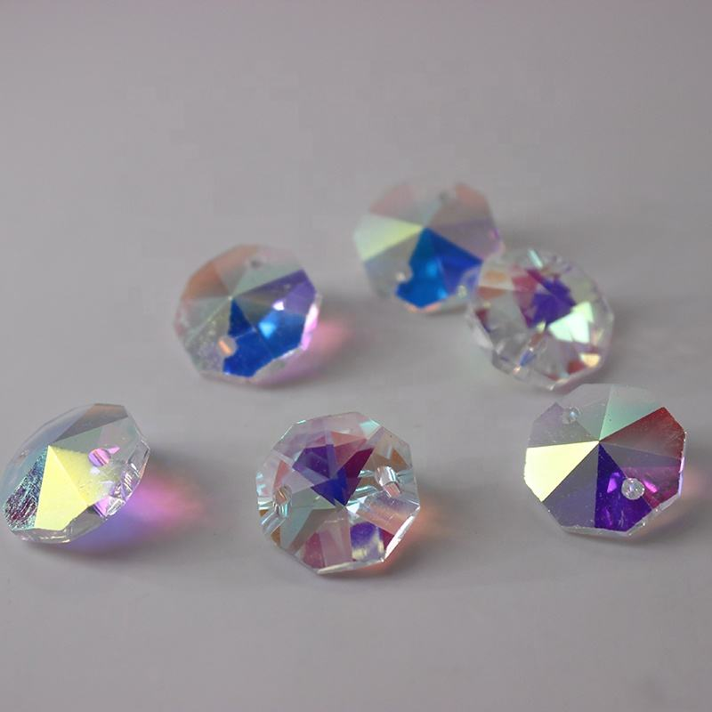 14mm AB Color Glass Crystal Octagon Beads with 2 holes