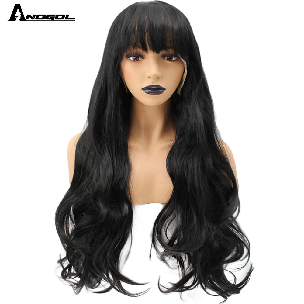 Anogol Black Long Loose Wave Wig Heat-Friendly Fiber Hair Synthetic Lace Front Wigs For Women With Fringe