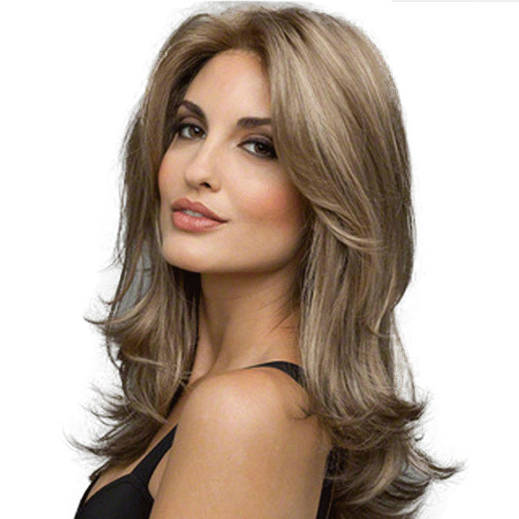 Wholesale manufacturer Medium Long Wavy Natural Blonde Synthetic Hair Wigs for women