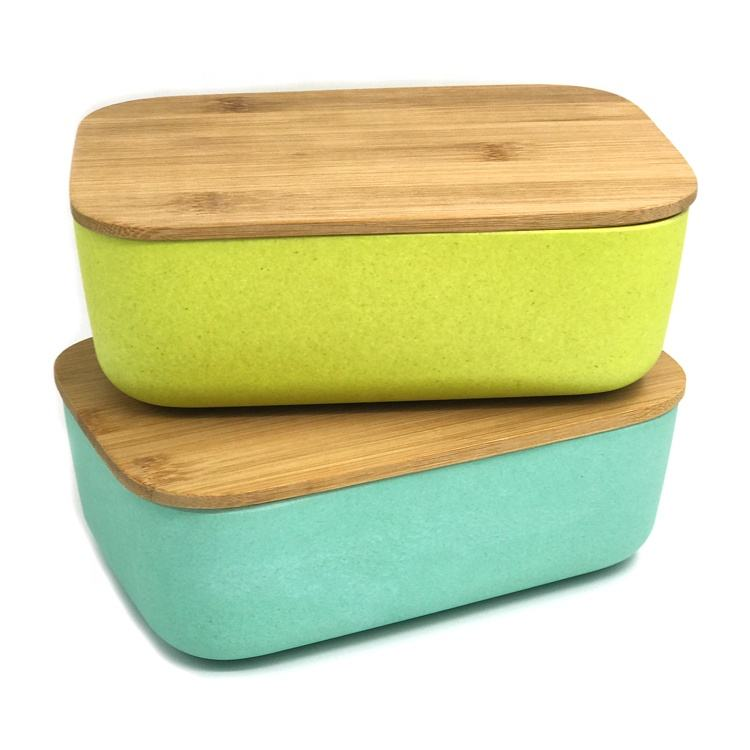 Eco friendly bamboo lunch box bento lunch case storage box bins wheat fibre box