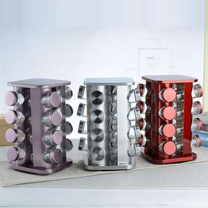 hot selling vertical stainless steel spice rack wall mounted with glass bottles