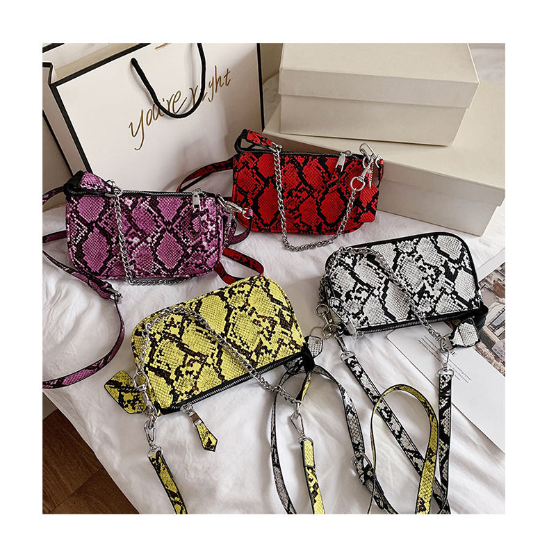 Luxury Snake Pattern Chain Underarm Bag Designer Women Small Print Crossbody Bag European American Serpentine Handbag