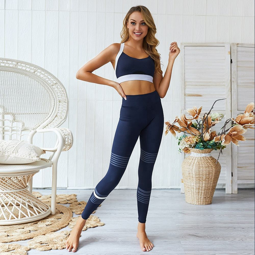 top amazon 2020 2019 new Ladies high quality fitness outfit gym suit offset printed vest Yoga set