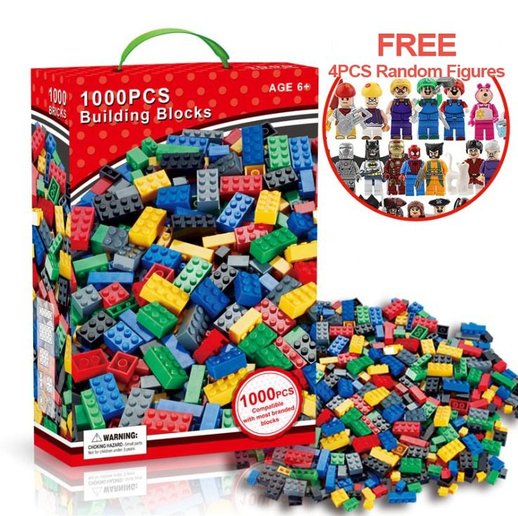 Free Figures 1000Pcs Bulk Classic Legoing ABS DIY Building Blocks Sets DIY Bricks Educational juguetes Gift Toys for Children