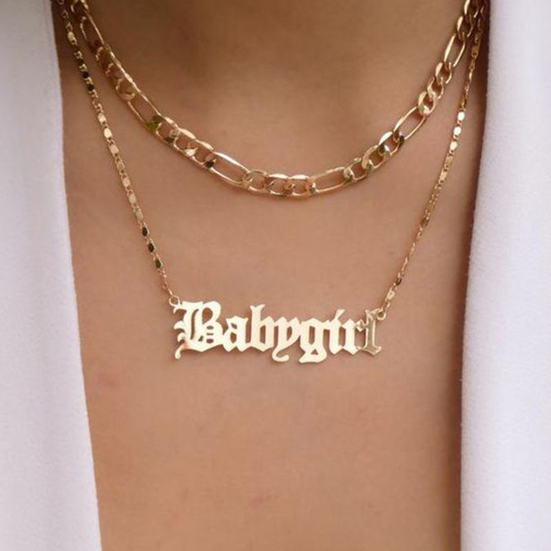 Gold Plated Name Plate Layered Couple Bar Boho 24K Personalize Babygirl Letter Multilayer Necklace