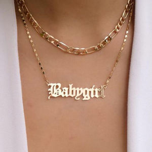 Gold Plated Name Plate Layered Couple Bar Boho 24K Personalize Babygirl Letter Necklace