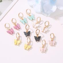 Korean Version New Earrings Fashion Color Acrylic Butterfly Earrings Small Fresh Sweet Colorful Butterfly Earrings