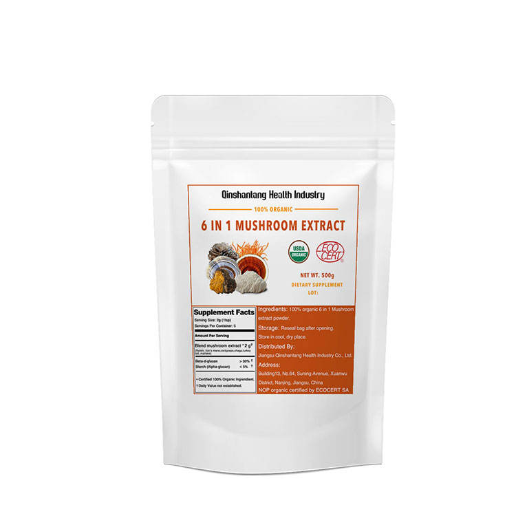 Organic Lions Mane, Reishi, Cordyceps, Chaga, Turkey Tail, Maitake 6 In 1 Extract Health Powder