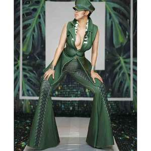 A3197 green 3D print women military styles sleeveless coat and pant two piece set Wholesale Instock