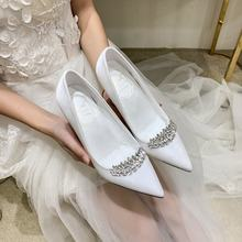 pretty fashion 2019 stiletto white satin bridal wedding shoes for woman and lady