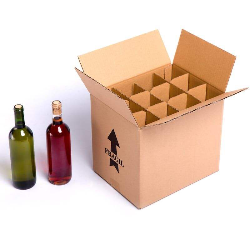 Custom strong corrugated cardboard 12 bottles wine box with dividers