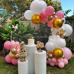 Birthday Wedding Party Decoration White Round Mesh Backdrop